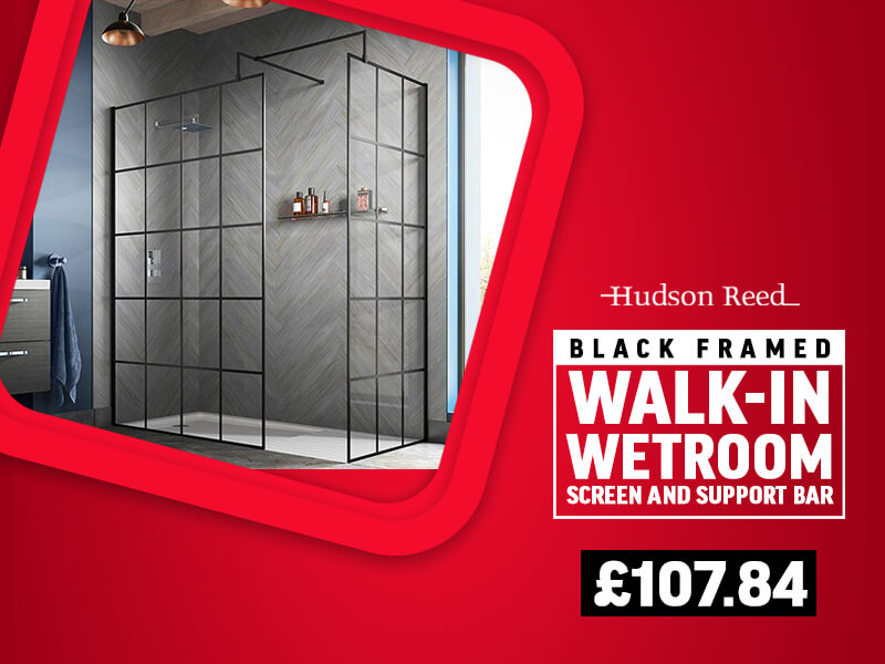 Hudson Reed Black Framed Walk-In Wetroom Screen And Support Bar