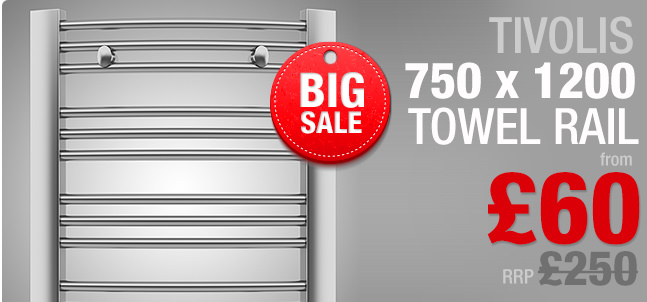Tivolis Straight Towel Rail 750 x 1200mm