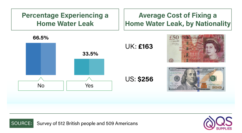 Percentage of respondents experiencing a water leak.